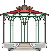 Gazebo with red roof