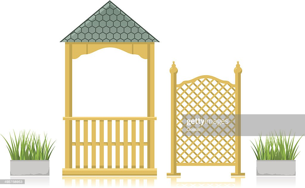 Gazebo with wooden lattice and grass