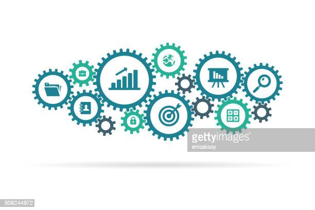 gear and business icons - wheel stock illustrations, clip art, cartoons, & icons