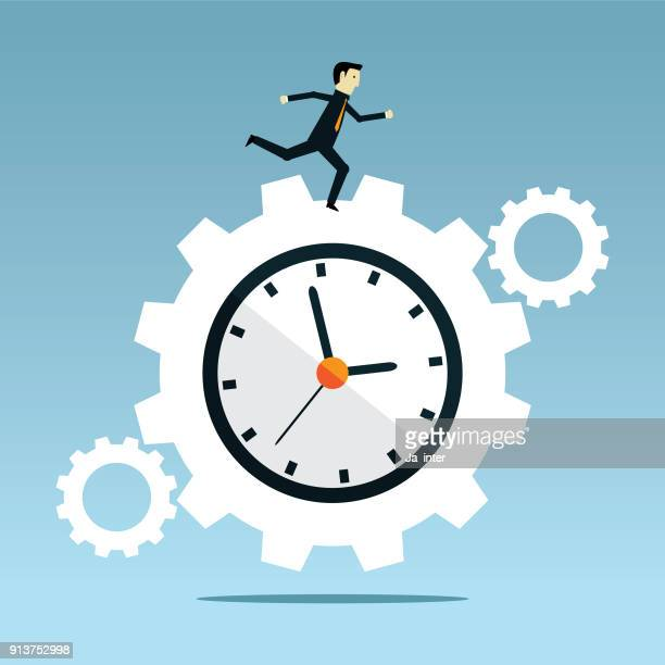 gear and time - overworked stock illustrations