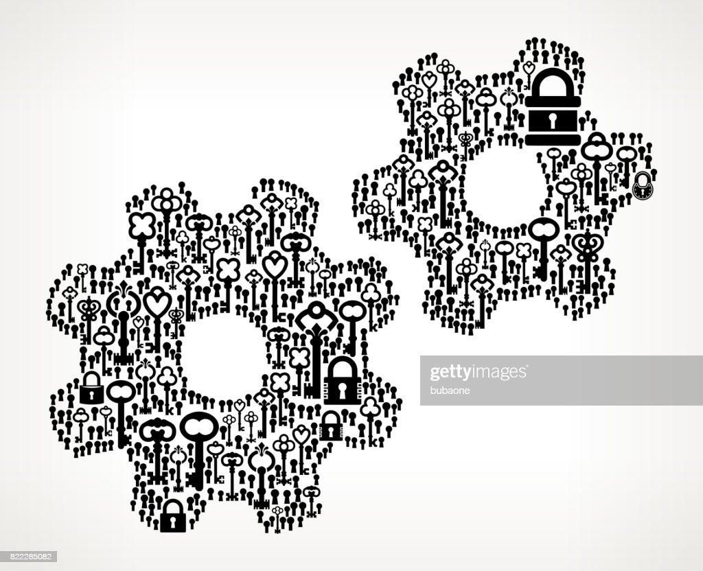 Gear  Antique Keys Black and White Vector Pattern : stock illustration