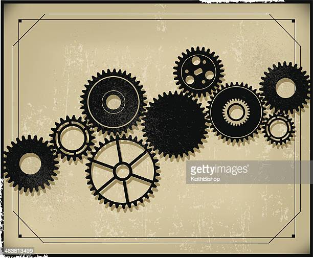 gear background - retro style - industrial revolution stock illustrations