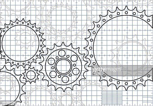 gear blueprint - gearshift stock illustrations, clip art, cartoons, & icons