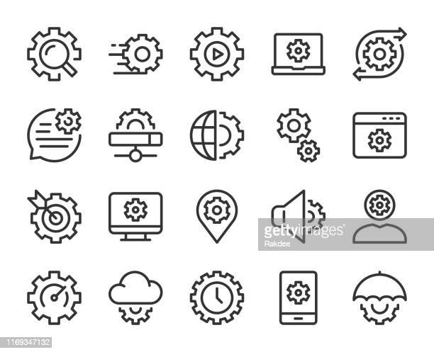 gear element - line icons - fasting activity stock illustrations, clip art, cartoons, & icons