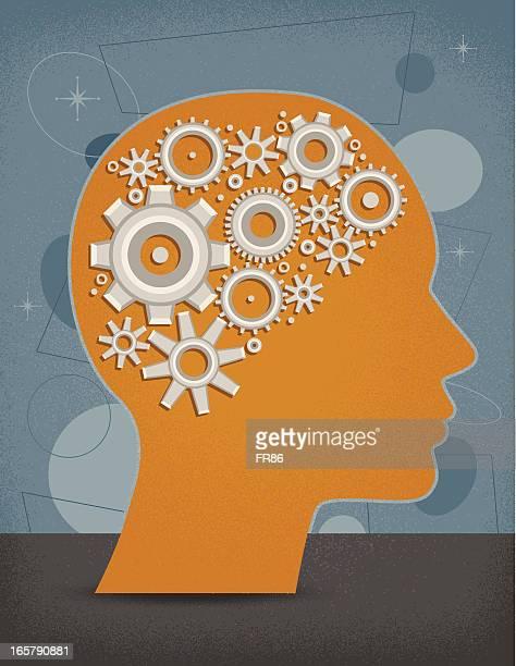 stockillustraties, clipart, cartoons en iconen met gear head - ziekte van alzheimer