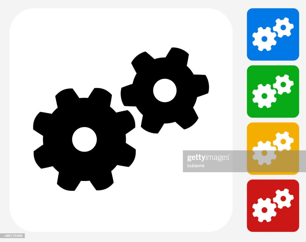 Gear Icon Flat Graphic Design