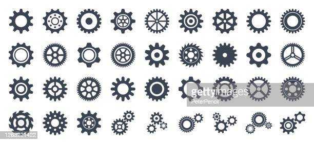 gear icon set - vector collection of gears - equipment stock illustrations
