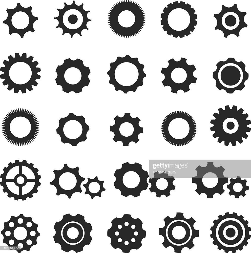 Gear icon set : stock illustration
