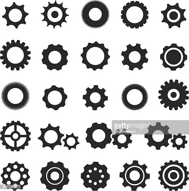 gear icon set - cog stock illustrations