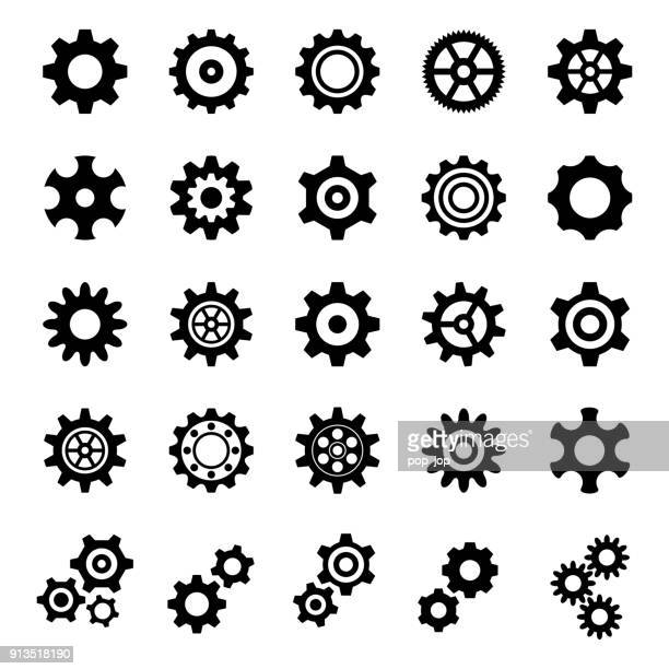gear icons - illustration - bicycle stock illustrations