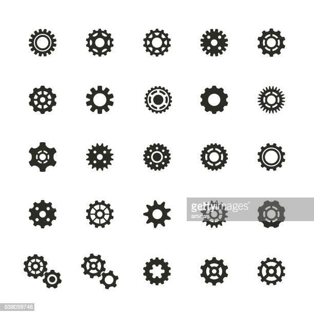 gear icons set - gearshift stock illustrations, clip art, cartoons, & icons
