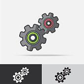 Gear Machine Part Vector Icon Flat Design