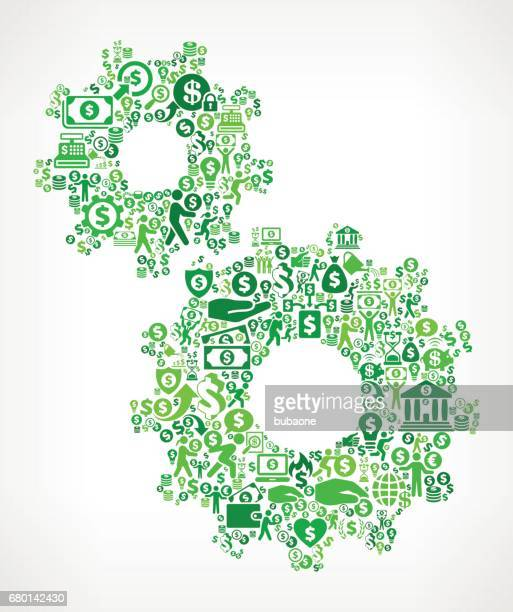 gear money and finance green vector icon background - flipping a coin stock illustrations, clip art, cartoons, & icons