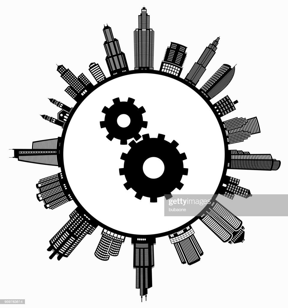 Getriebe auf modernen Stadtbild Skyline Hintergrund : Stock-Illustration