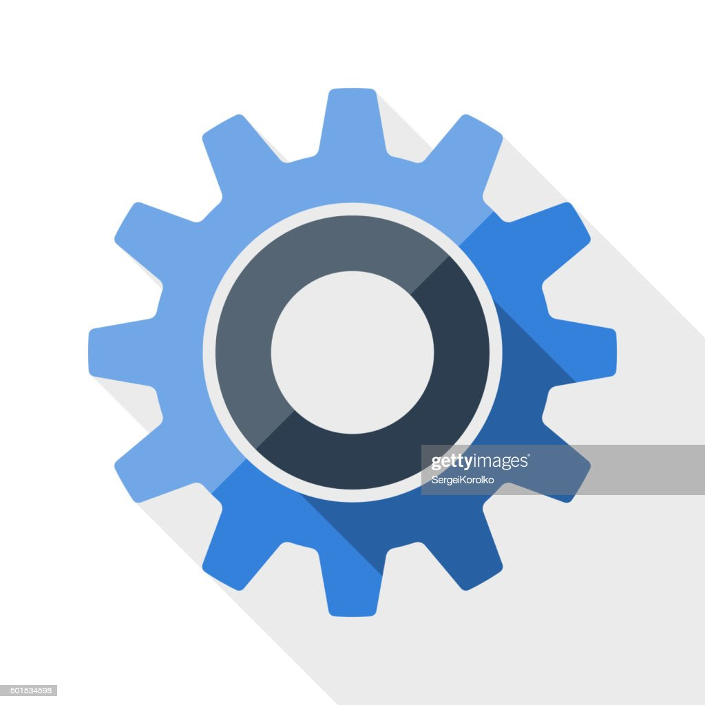 Gear or settings icon with long shadow