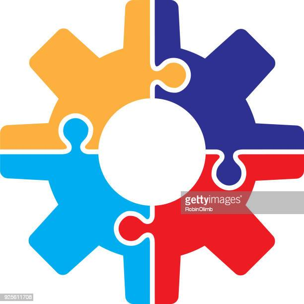 gear puzzle piece icon - letter b stock illustrations