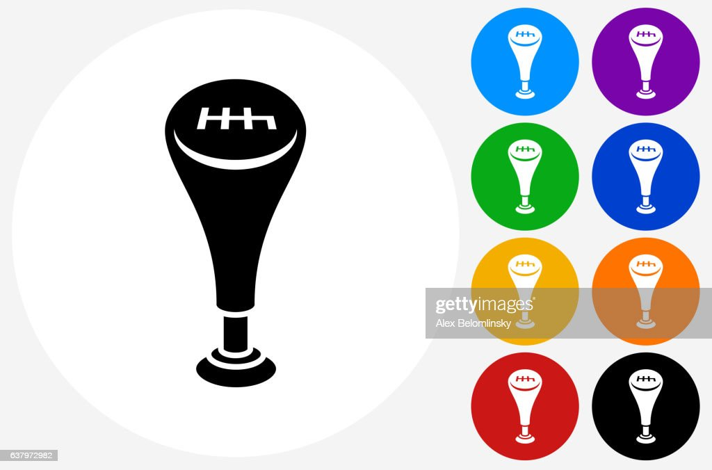 Gear Shift Icon on Flat Color Circle Buttons : stock illustration