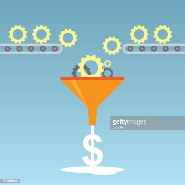 gear to money - funnel stock illustrations