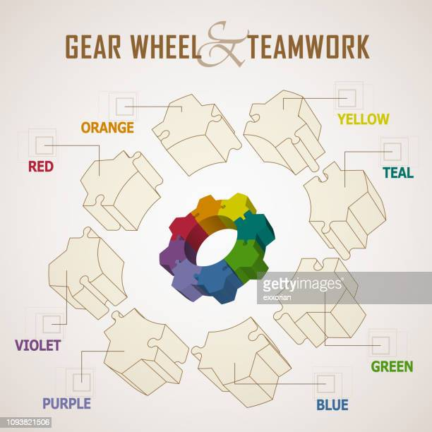 gear wheel and teamwork concept - things that go together stock illustrations