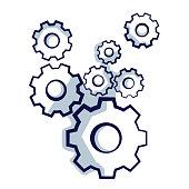 Gear wheels symbolizing idea or solution.