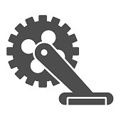 Gear with pedal solid icon, bicycle concept, Bicycle crank sign on white background, Bicycle pedal icon in glyph style for mobile concept and web design. Vector graphics.