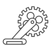 Gear with pedal thin line icon, bicycle concept, Bicycle crank sign on white background, Bicycle pedal icon in outline style for mobile concept and web design. Vector graphics.
