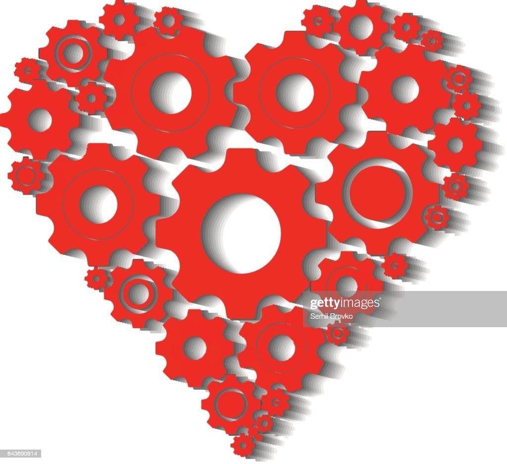 Gears And Cogs In Shape Of Heart System Theme Icon Vector Art