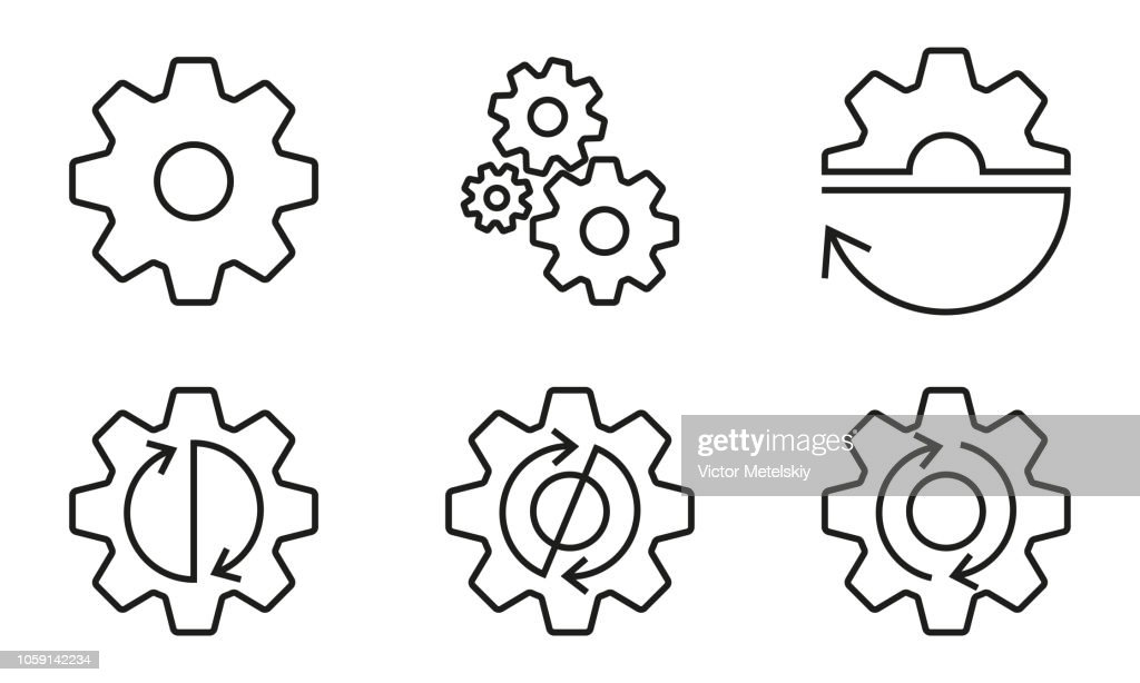 Gears and cogs outline set. Gear wheels with arrows. Vector illustration.