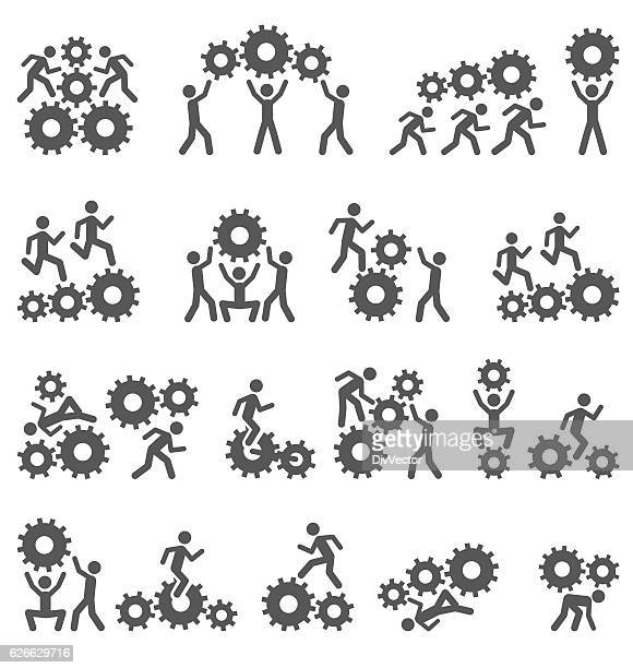 Gears and people icons