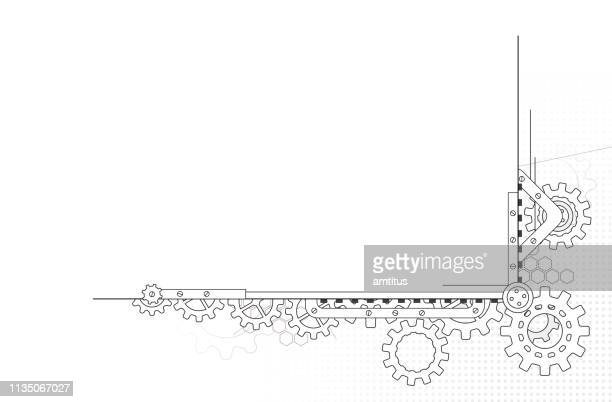 gears border design - link chain part stock illustrations
