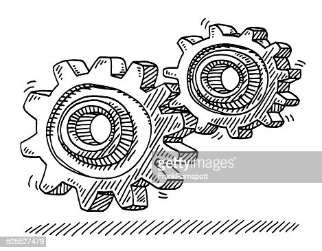 Gears Cog Wheels Connection Drawing High Res Vector