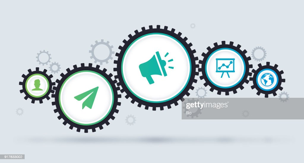 Gears Connecting Working Together Concept : stock illustration