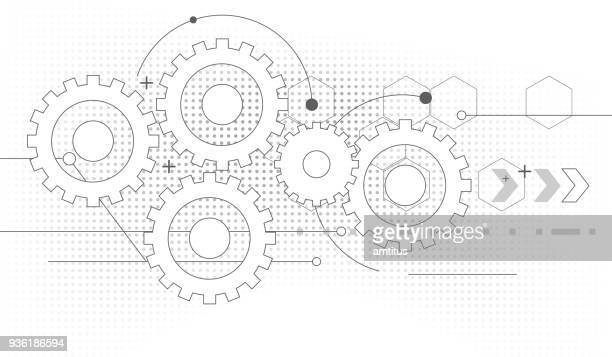 gears drawing - working stock illustrations