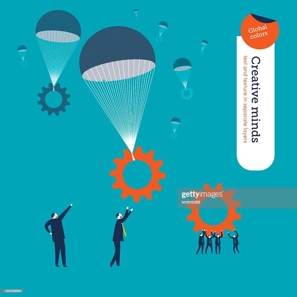 Gears falling in parachutes and businessmen waiting for them