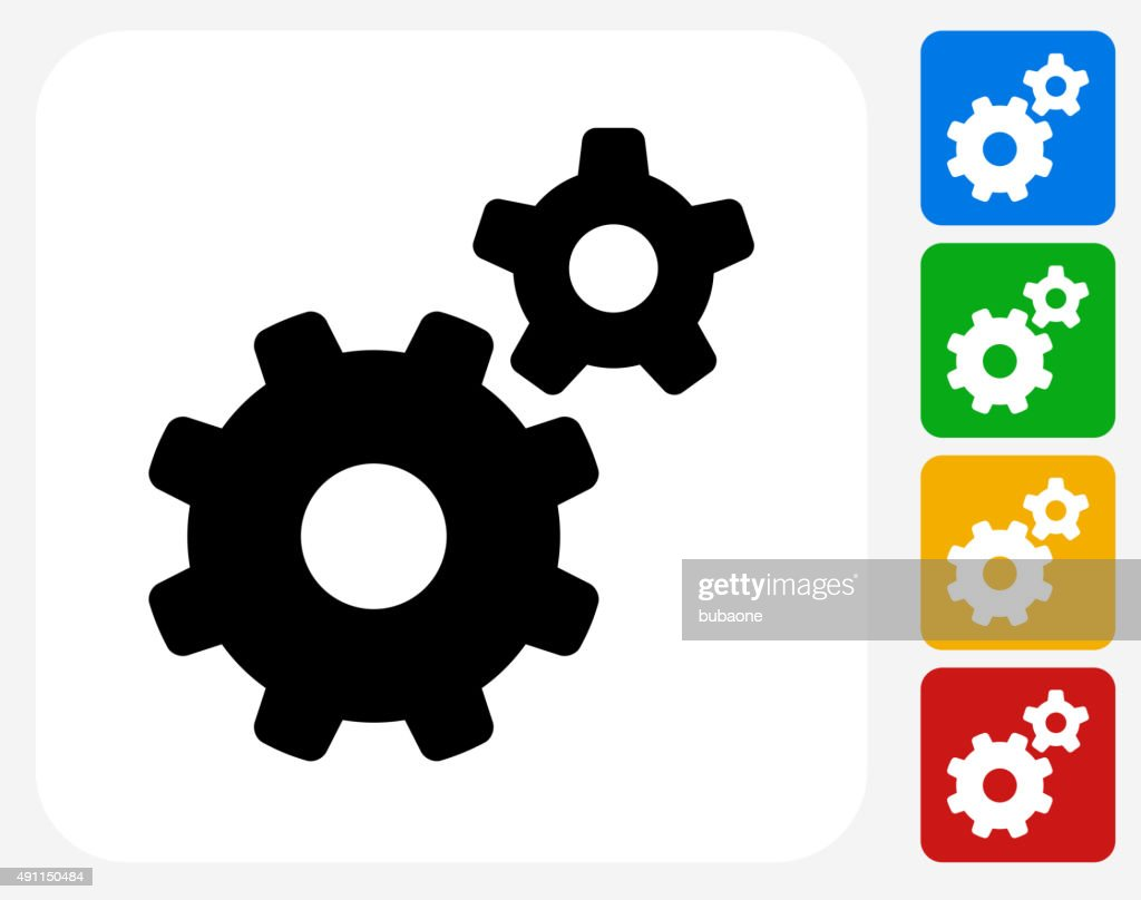 Gears Icon Flat Graphic Design