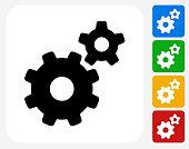 Gears Icon Flat Graphic Design