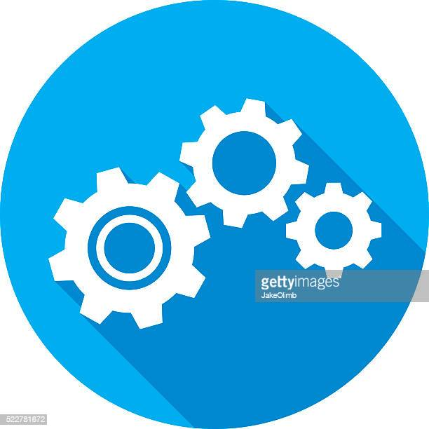 gears icon silhouette - cog stock illustrations