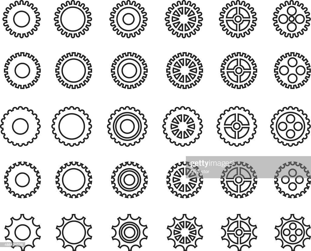 Gears icons set : stock illustration