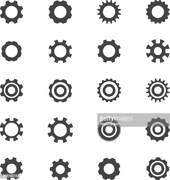 gears icons set - gearshift stock illustrations, clip art, cartoons, & icons