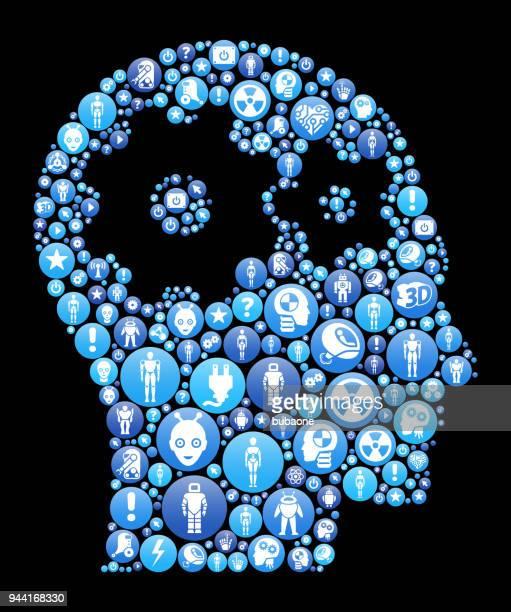 心青アイコン パターン背景の歯車 - ロボット手術点のイラスト素材/クリップアート素材/マンガ素材/アイコン素材