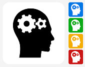 Gears in the Mind Icon Flat Graphic Design