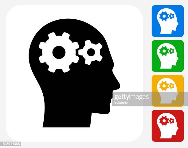 gears in the mind icon flat graphic design - side view stock illustrations