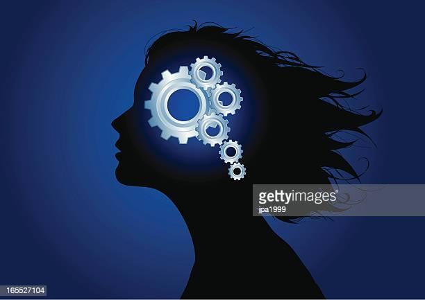 gears of mind - mental illness stock illustrations