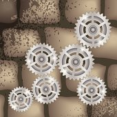 gears on a brick background