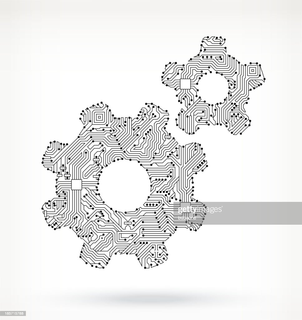 Gears On Circuit Board Vector Art   Getty Images