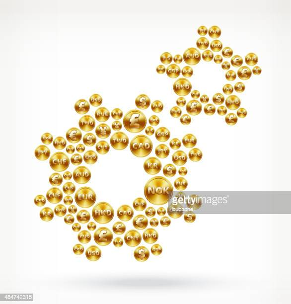 gears on gold coin buttons - fiscal year stock illustrations