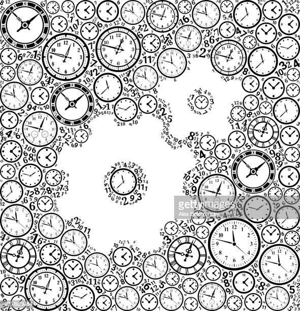 Gears on Time and Clock Vector Icon Pattern