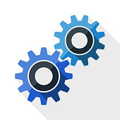 Gears or settings icon with long shadow