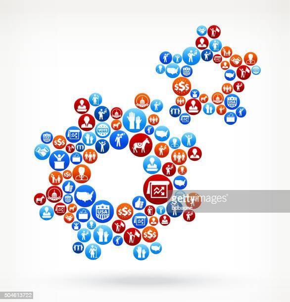 ilustrações, clipart, desenhos animados e ícones de gears votação e eleições eua patrióticas ícone padrão - usa