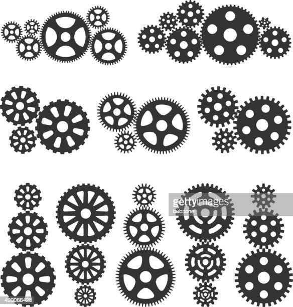 gearsblack &ホワイトのロイヤリティフリーのベクターアイコンセットインタフェース - クランクセット点のイラスト素材/クリップアート素材/マンガ素材/アイコン素材